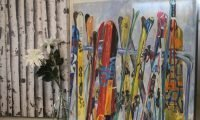 Painting of skis on a rack
